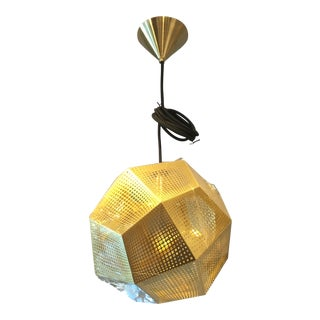 Tom Dixon Pierced Gold MEtal 'Etch' Pendant For Sale