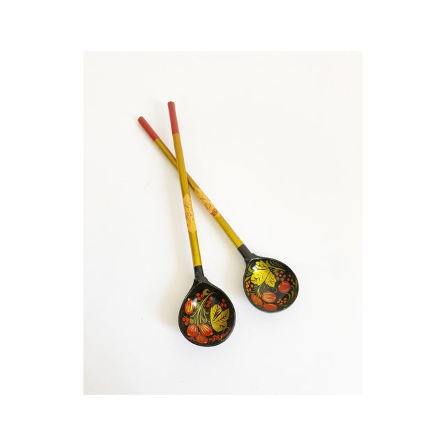 Lacquer Vintage Russian Lacquerware Salad Servers For Sale - Image 7 of 7