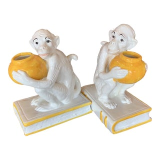 Italian Majolica Monkey Bookends - a Pair For Sale