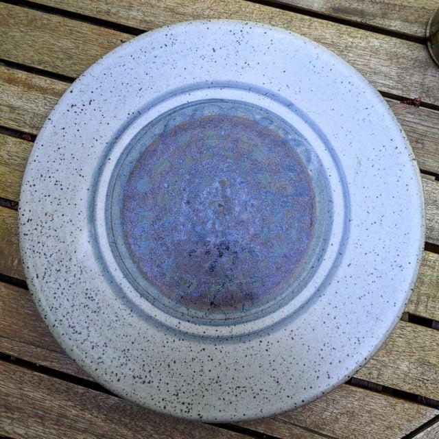 Ceramic Midcentury Modern Round Glazed Pottery Pedestal Platter For Sale - Image 7 of 13