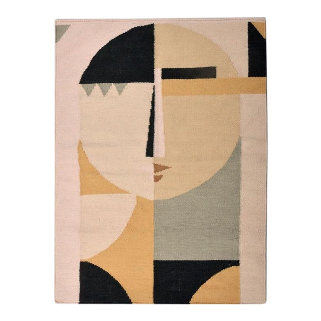 Custom Flat Weave Abstract Female Figure Rug - 3′ × 3′10″ For Sale In Atlanta - Image 6 of 7