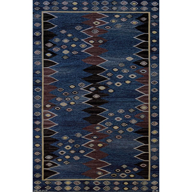 Blue Mid 20th Century Signed Mid-Century Wool Handwoven Swedish Rug For Sale - Image 8 of 8