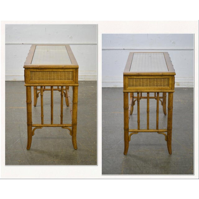 *STORE ITEM #: 18290-fwmr American of Martinsville Faux Bamboo & Wicker Writing Desk AGE / ORIGIN: Approx. 40 years,...
