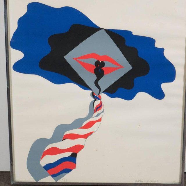 Mid-Century Modern Pop Art Print by Allen Jones in Black & Electric Blue/Red - Image 4 of 10