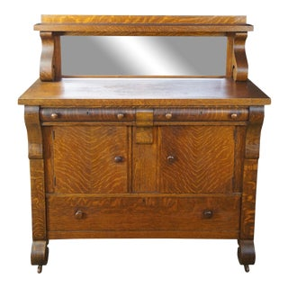 National Furniture Antique Empire Quartersawn Oak Buffet For Sale