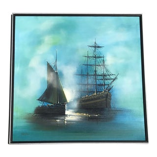 1970s Vintage Carlson Nautical Schooner in the Fog Signed Oil Painting For Sale