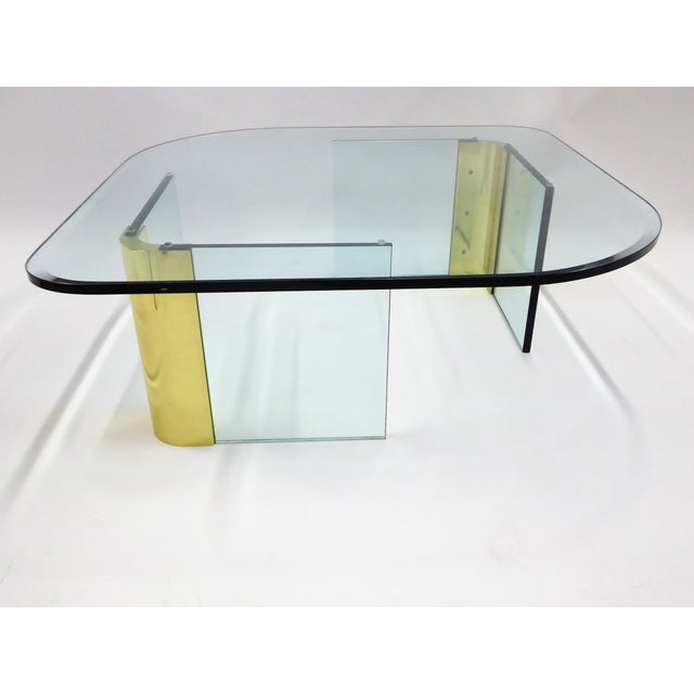 Modern Large 1970s Thick Glass & Brass Coffee Table For Sale - Image 11 of 13
