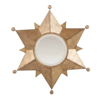 Contemporary Gold-Tone Metal Star Shaped Accent Mirror For Sale