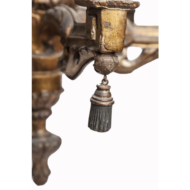 Antique Wooden Six-Light Chandelier - Image 5 of 7