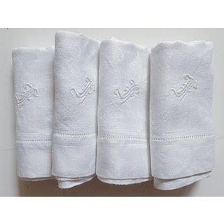 Monogramed Damask White Linen Napkins - Set of 4 Preview