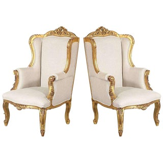1940s French Style Giltwood Bergere Chairs - a Pair