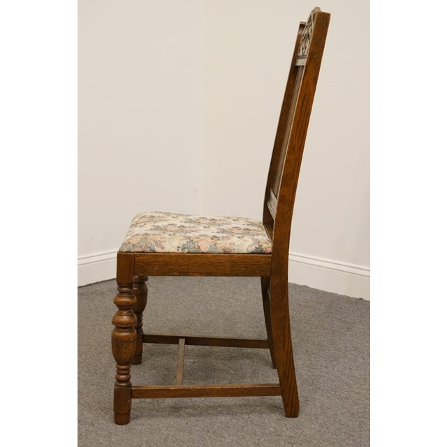 1920s 1920's Antique Vintage Gothic Revival Jacobean Dining Side Chair For Sale - Image 5 of 9
