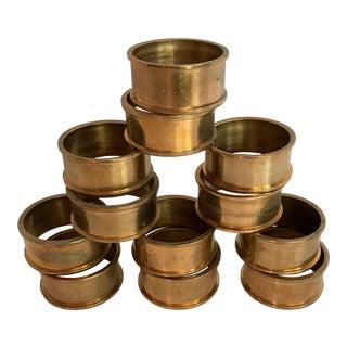 Solid Vintage Brass Napkin Rings - Set of 12 For Sale