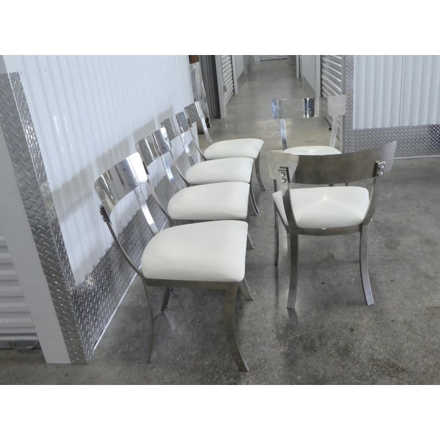 Chrome Post Modern Chrome / Aluminum Klismos Dining Chairs - Set of 6 For Sale - Image 8 of 13