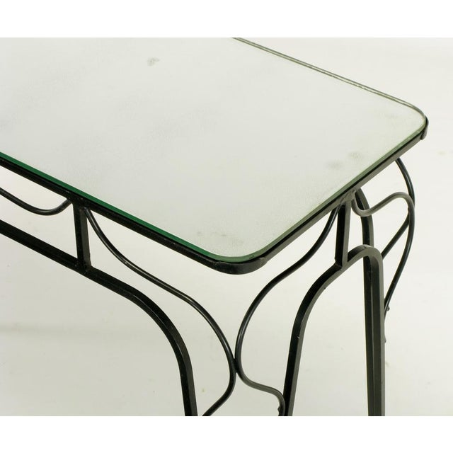 Glass Salterini Attr. Black Wrought Iron & Mirror Top Petite Console For Sale - Image 7 of 10