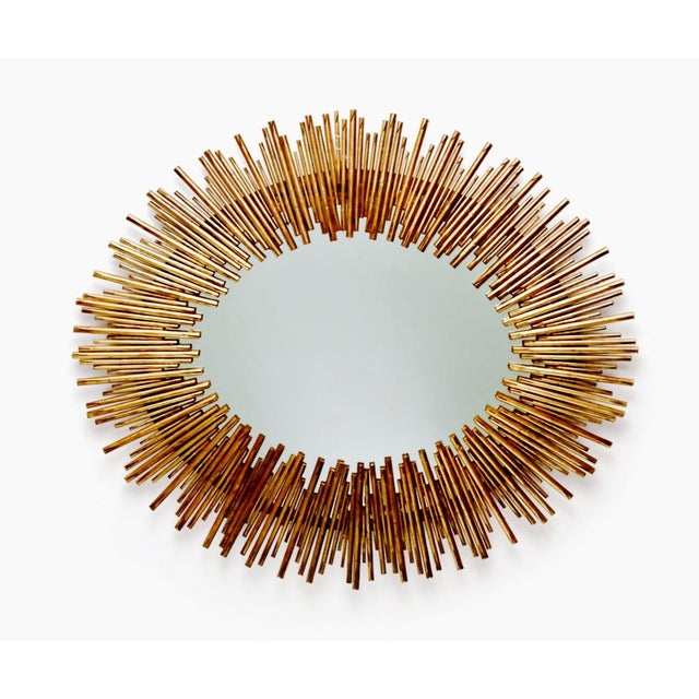 Arteriors Prescott Antiqued Gold Oval Iron Mirror - Image 3 of 4