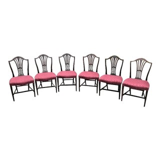 Mahogany Hepplewhite Style Dining Chairs - Set of 6 For Sale
