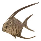 Image of Vintage Brass Angel Fish Wall Hanging For Sale