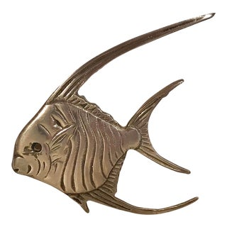 Vintage Brass Angel Fish Wall Hanging For Sale