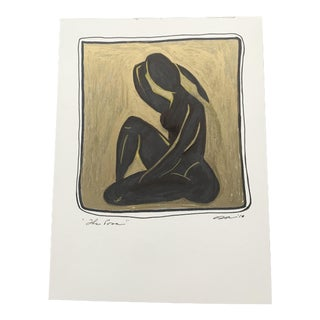 """Original Mixed Media Painting With Metallic Gold """"The Pose"""" For Sale"""