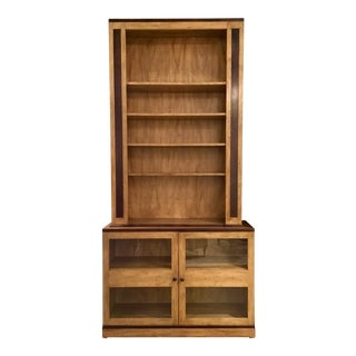 Transitional Wood Collectors Bookcase For Sale