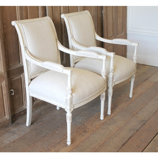 Napoleon III 20th Century Napoleon Style Upholstered Open Arm Chairs- A Pair For Sale - Image 3 of 13