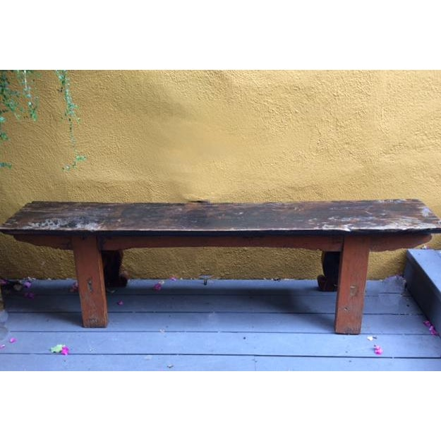 Antique Chinese Wooden Bench For Sale - Image 9 of 11