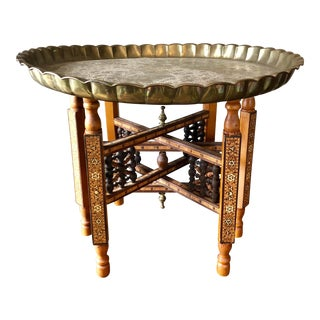 Antique Syrian Inlaid Folding Brass Tray Table For Sale