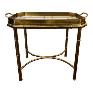 20th Century Hollywood Regency Brass Tray Table For Sale