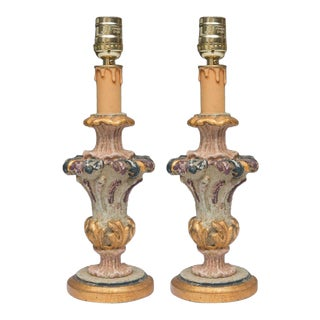 Hand-Painted and Parcel-Gilt Italian Candlesticks as Lamps - Pair For Sale