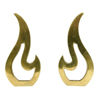 Mid-Century Brass Flame Shaped Andirons - a Pair For Sale