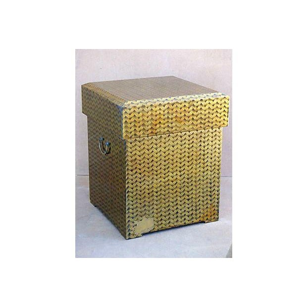 Gold Lacquered Covered Trunk For Sale - Image 10 of 11