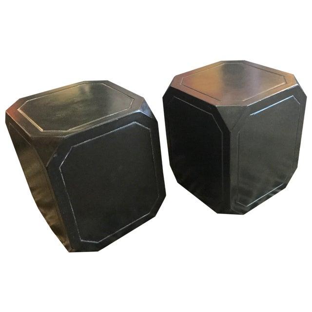 Octagonal Concrete Tables - A Pair - Image 1 of 4