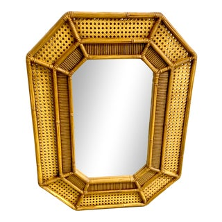Vintage Resin Faux Bamboo and Cane Mirror For Sale