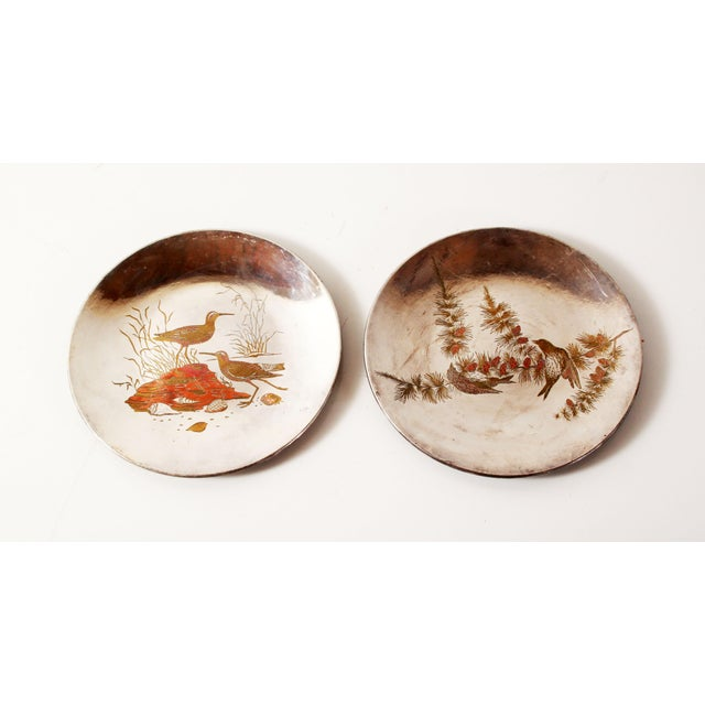Silver Plated Mixed Metal Brass & Copper Audubon Plates for Tiffany & Co. - a Pair For Sale - Image 12 of 12
