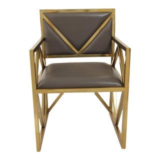 Contemporary Gray Leather X Arm Chair For Sale