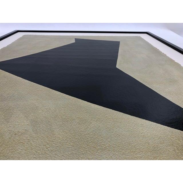 Black Original Framed Betty Gold Artwork Black Geometric Form Against Metallic Paper Signed For Sale - Image 8 of 12
