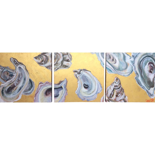 "Contemporary Oysters Paintings on Canvas ""Gold Coast I, Ii, Iii"" by Leigh-Anne O'Brien (Lagob) - Set of 3 For Sale"