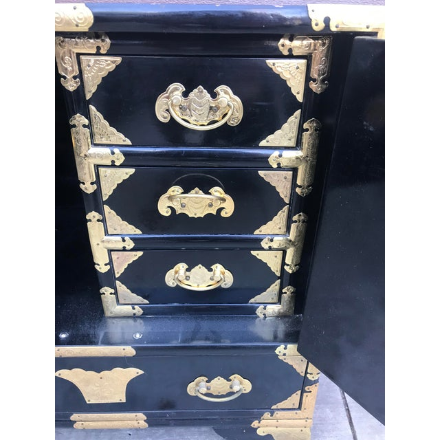 19th Century Antique Black Chinese Cabinet For Sale In Los Angeles - Image 6 of 13