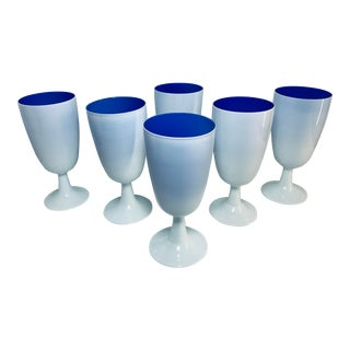 Carlo Moretti White and Cobalt Blue Cased Murano Glass Goblets - Set of 6 For Sale