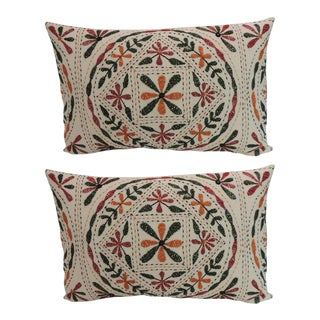 Pair of Vintage Embroidery Indian Bolster Accent Pillows