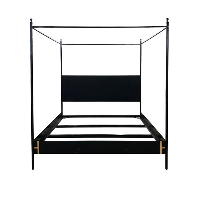 Ebony Contemporary Josephine Canopy King Size Bedframe For Sale - Image 8 of 8