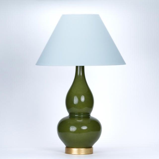 Ceramic Casa Cosima Double Gourd Table Lamp, Olive Craquelure/Blue Stream Shade For Sale - Image 7 of 7
