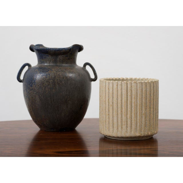 Arne Bang Small Ribbed Stoneware Vessel, Denmark 1950s For Sale In Santa Fe - Image 6 of 8