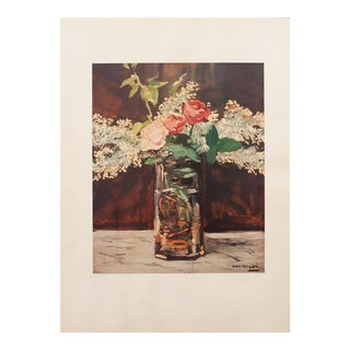 1950s Vintage White Lilac and Roses Lithograph by Édouard Manet For Sale
