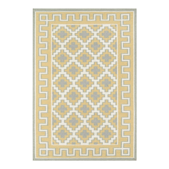 Erin Gates by Momeni Thompson Brookline Gold Hand Woven Wool Area Rug - 7′6″ × 9′6″ For Sale