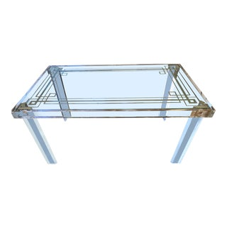 Hollywood Regency Acrylic + Etched Glass Top Desk For Sale