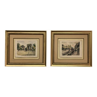 French Landscape Watercolor Paintings - A Pair