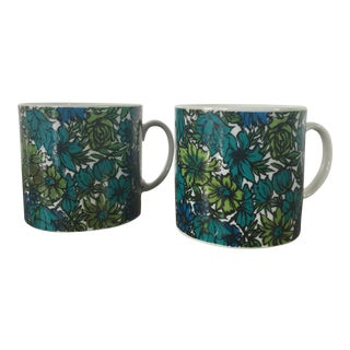 1965 Vintage Holt Howard Green Blue Floral Mid Century Modern Coffee Cups - Set of 2 For Sale