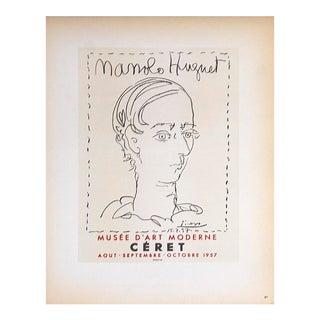 """Pablo Picasso Manolo Huguet 12.5"""" X 9.25"""" Lithograph 1959 Cubism Black & White Face, Man For Sale"""